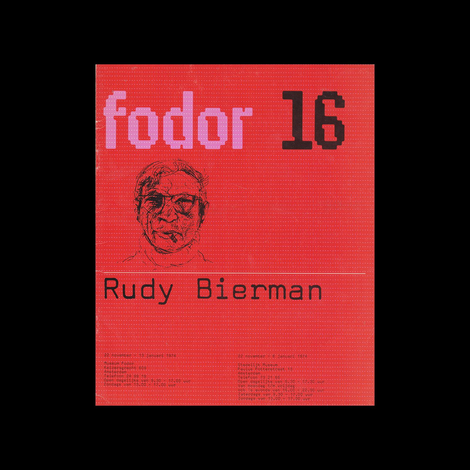 Fodor 16, 1974 - Rudy Bierman. Designed by Wim Crouwel and Daphne Duijvelshoff (Total Design).