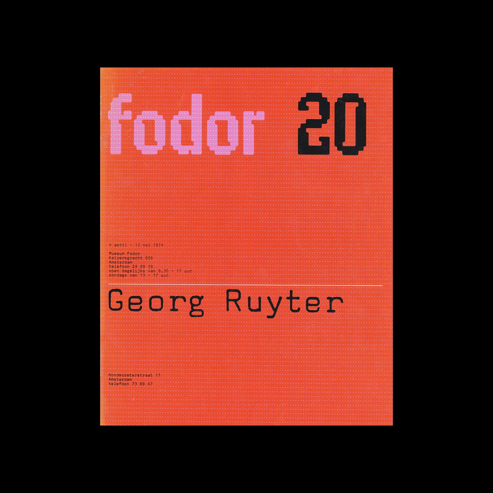 Fodor 20, 1974 - Georg Ruyter. Designed by Wim Crouwel and Daphne Duijvelshoff (Total Design)
