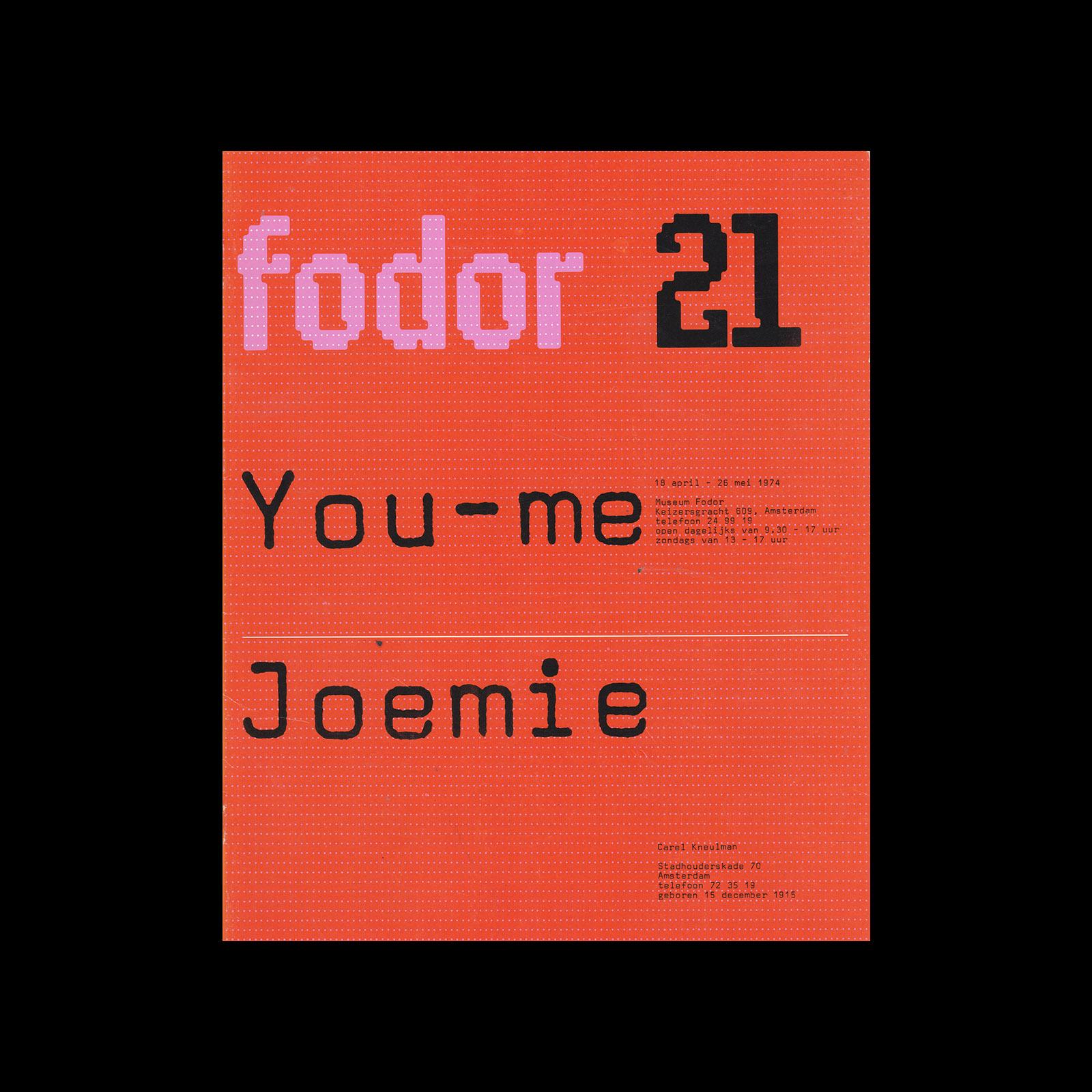 Fodor 21, 1974 - You-me, Joemie. Designed by Wim Crouwel and Daphne Duijvelshoff (Total Design)