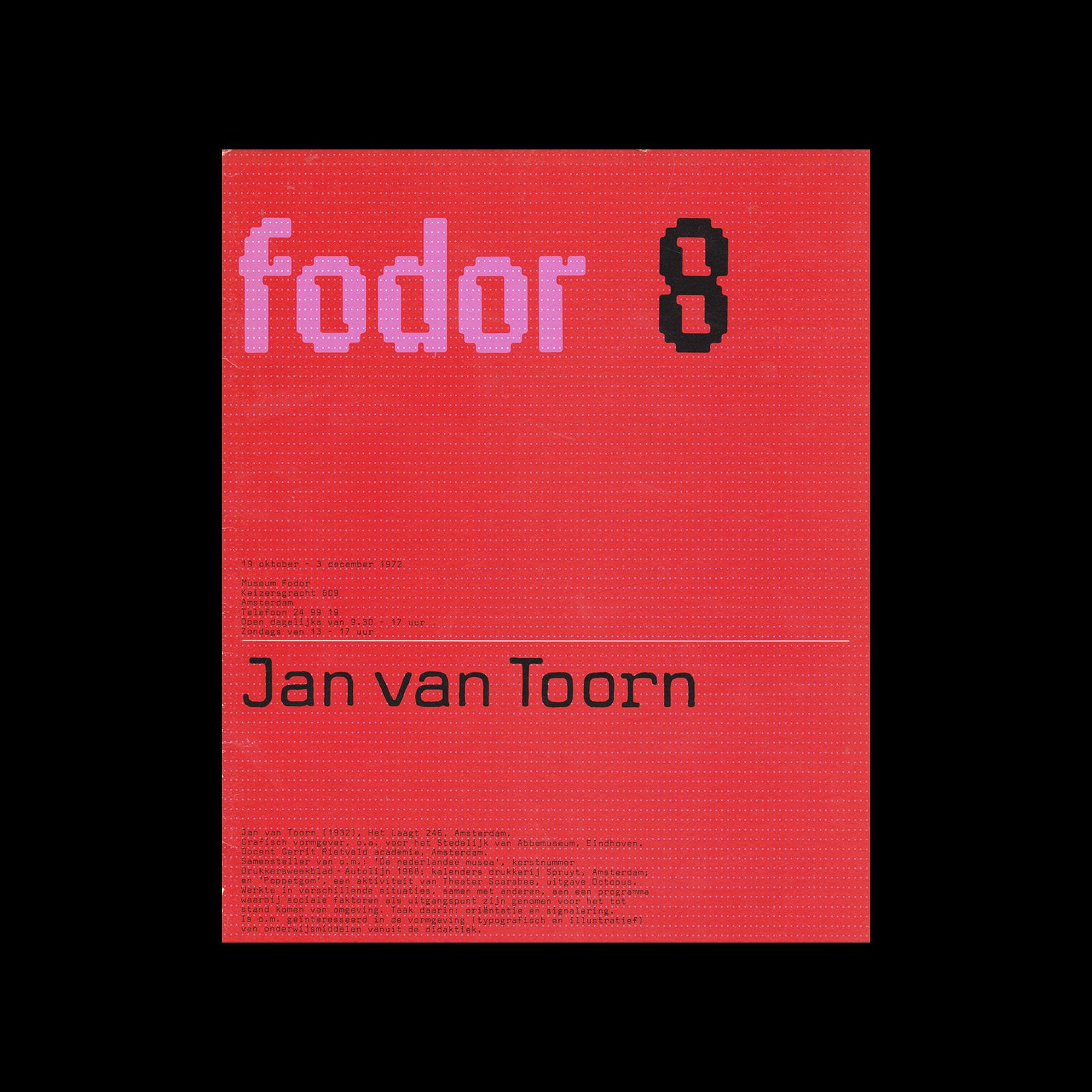 Fodor 8, 1972 - Jan van Toorn. Designed by Wim Crouwel