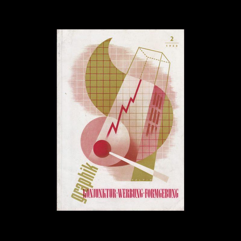 Graphik - Werbung + Formgebung, 2, 1950. Cover design by Faltin