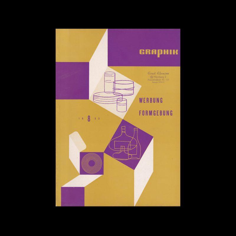 Graphik - Werbung + Formgebung, 8, 1953. Cover design by Curt John Witt