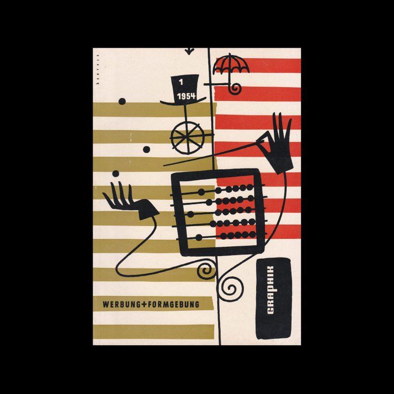 Graphik - Werbung + Formgebung, 1, 1954. Cover design by Hermann Bentele