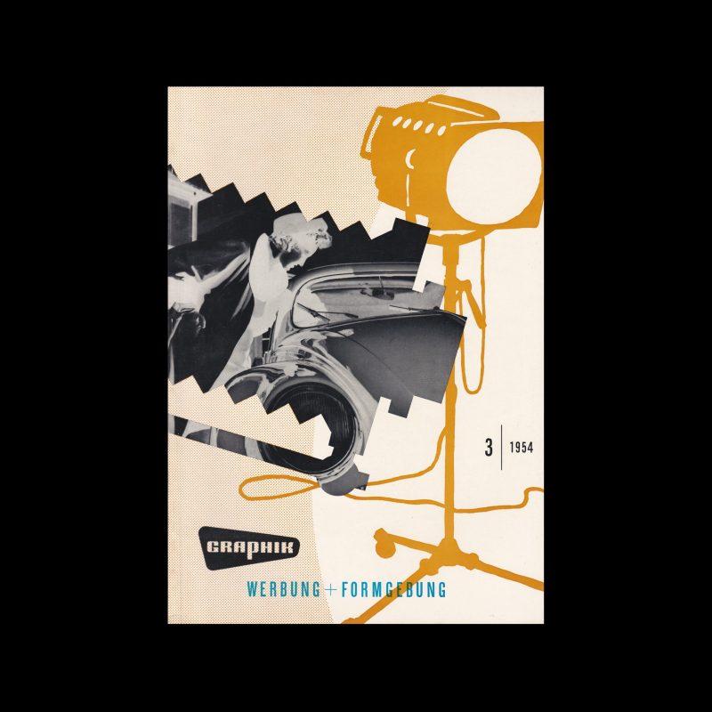 Graphik - Werbung + Formgebung, 3, 1954. Cover design by Ewald Hoinkis