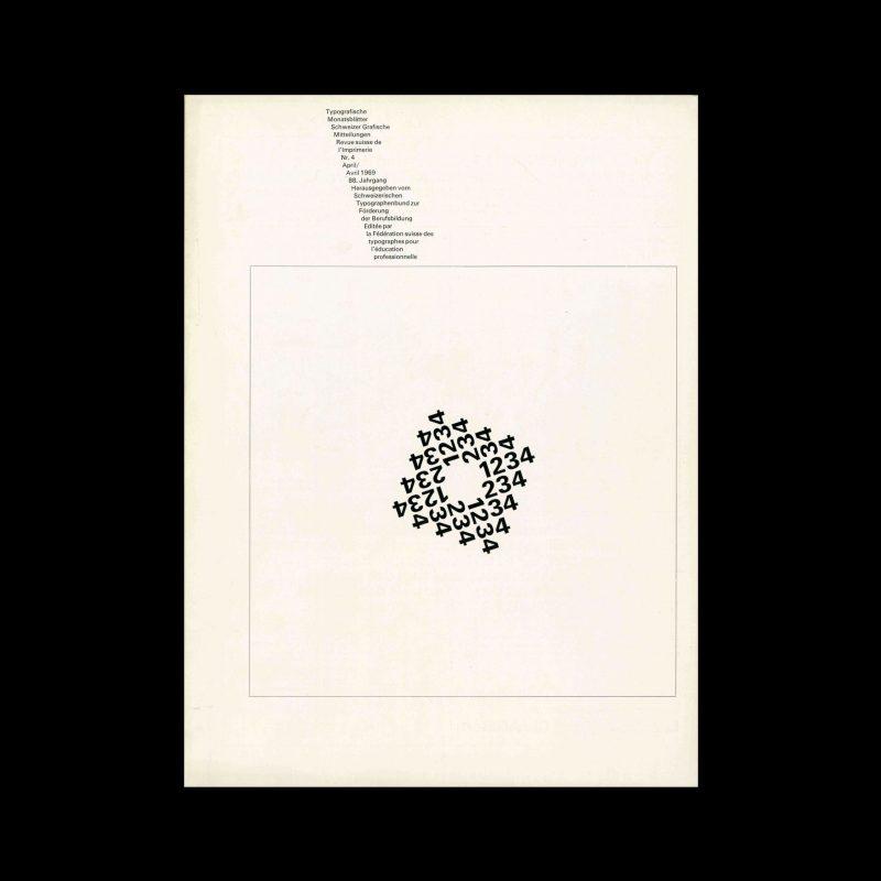 Typografische Monatsblätter, 4, 1969. Cover design by Theophil Stirnemann