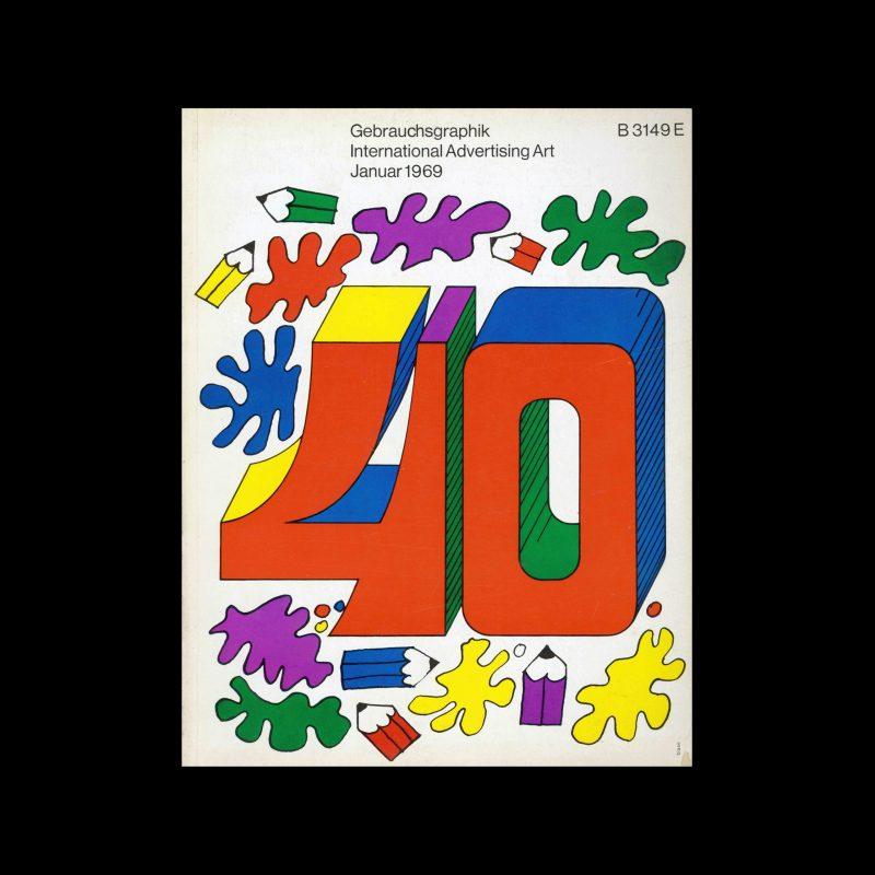 Gebrauchsgraphik, 1, 1969. Cover design by Karl Oskar Blase