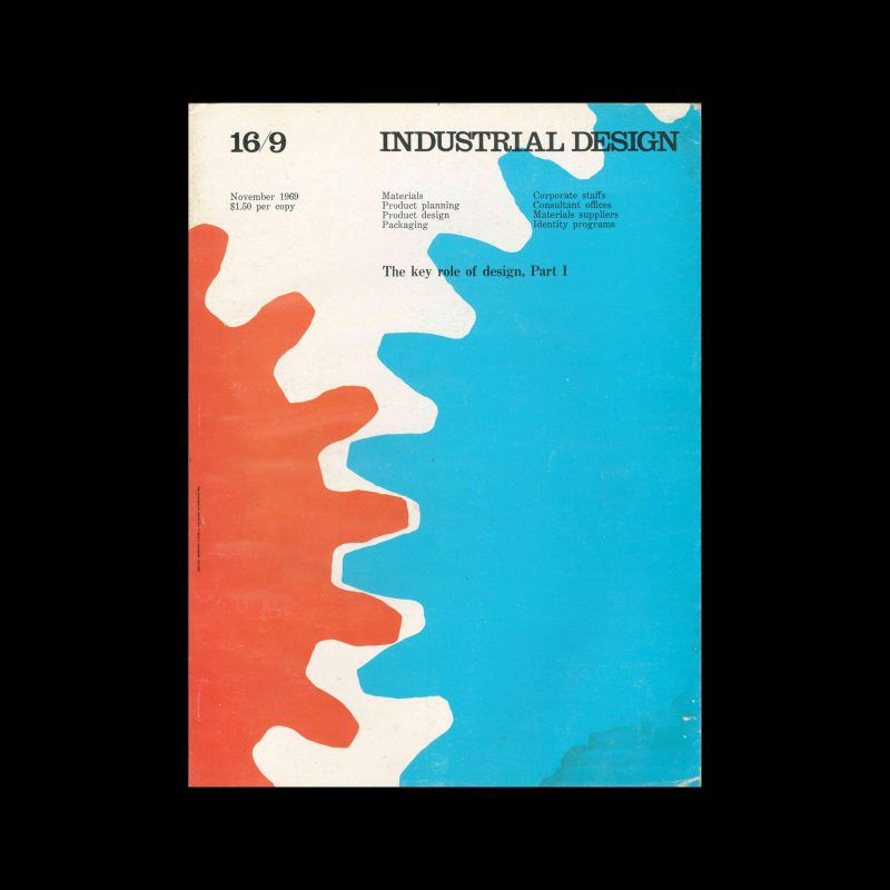 Industrial Design, November, 1969. Cover design by Massimo Vignelli