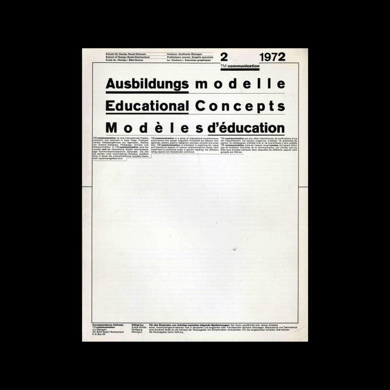 Typografische Monatsblätter Communication, 2, 1972. Design by Wolfgang Weingart