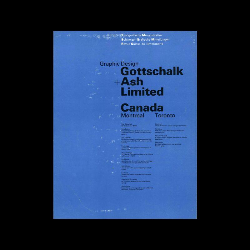 Typografische Monatsblätter, 8-9, 1974. Cover design by Gottschalk+Ash