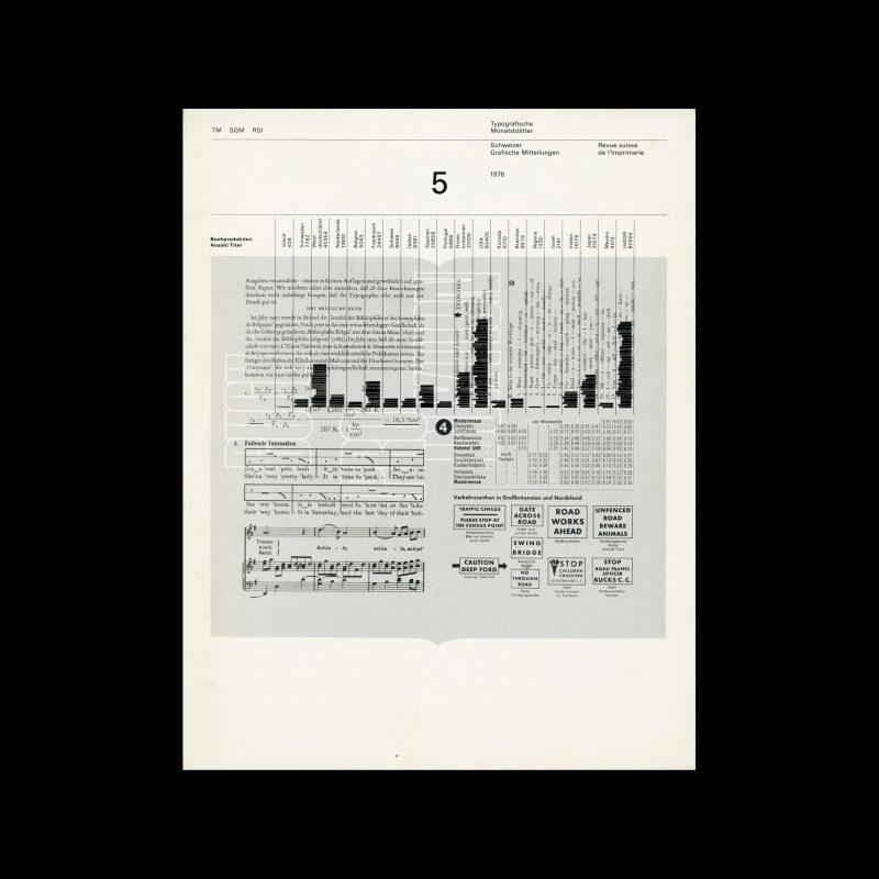 Typografische Monatsblätter, 5, 1976. Cover design by Heinrich Fleischhacker