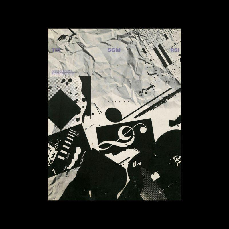 Typografische Monatsblätter, 1, 1981. Cover design by Ken Komai and Dan Friedman