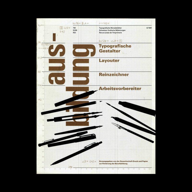 Typografische Monatsblätter, 6, 1981. Cover design by Heinrich Fleischhacker