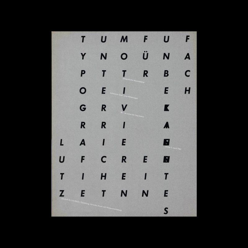 Typografische Monatsblätter, 2, 1982. Cover design by Hans-Rudolf Lutz