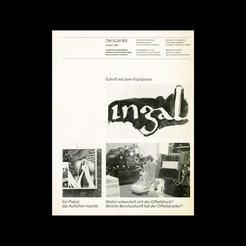Typografische Monatsblätter, 1, 1983. Cover design by Jean-Pierre Graber