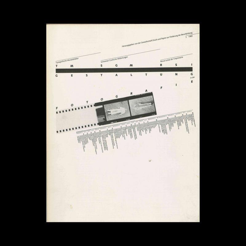 Typografische Monatsblätter, 3, 1983. Cover design by Hans Rudolf Bosshard