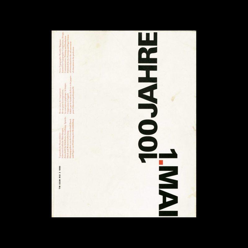 Typografische Monatsblätter, 2, 1990. Cover design by Jean-Pierre Graber
