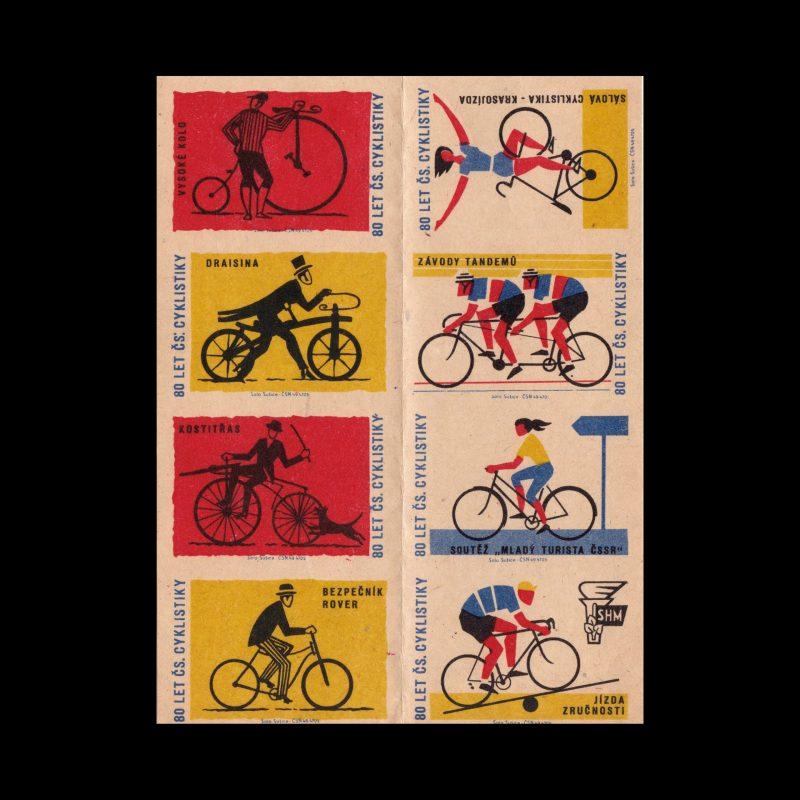 80 years of Cycling, Czechoslovakian 1960s Matchbox label set