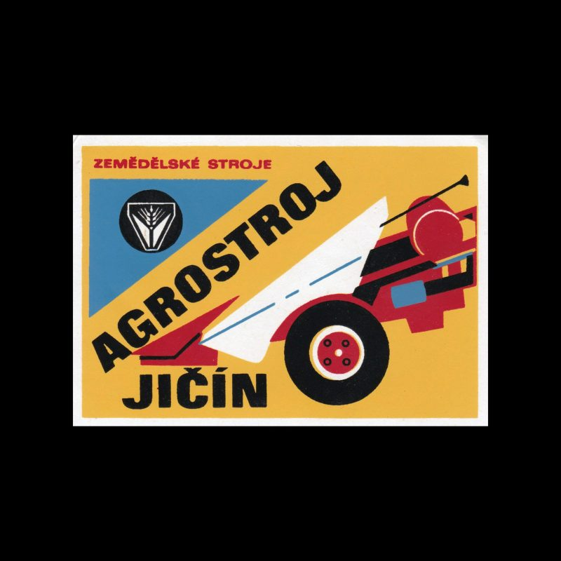 Agricultural Machinery, Czechoslovakian 1960s large Matchbox label