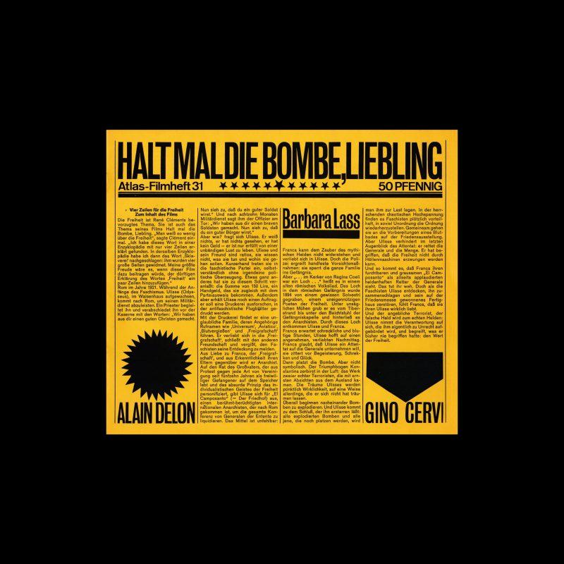 Atlas Filmheft 31 - Halt mal die Bombe, Liebling designed by Heinz Edelmann