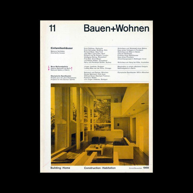 Bauen+Wohnen, 11, 1968. Designed by Emil Maurer