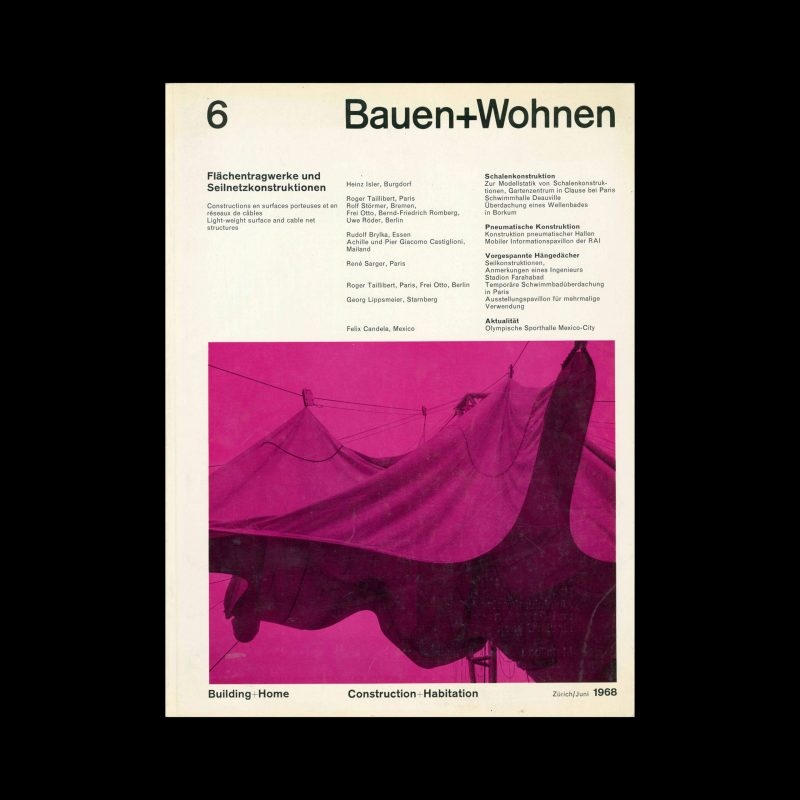 Bauen+Wohnen, 6, 1968. Designed by Emil Maurer