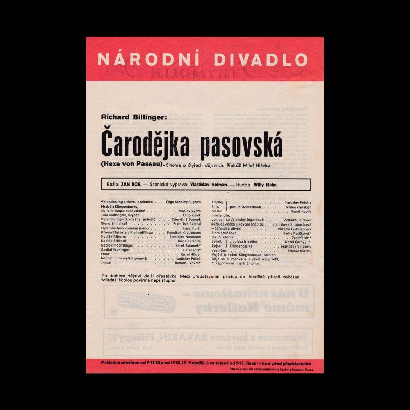 Čarodějka pasovská designed by Ludislav Sutnar