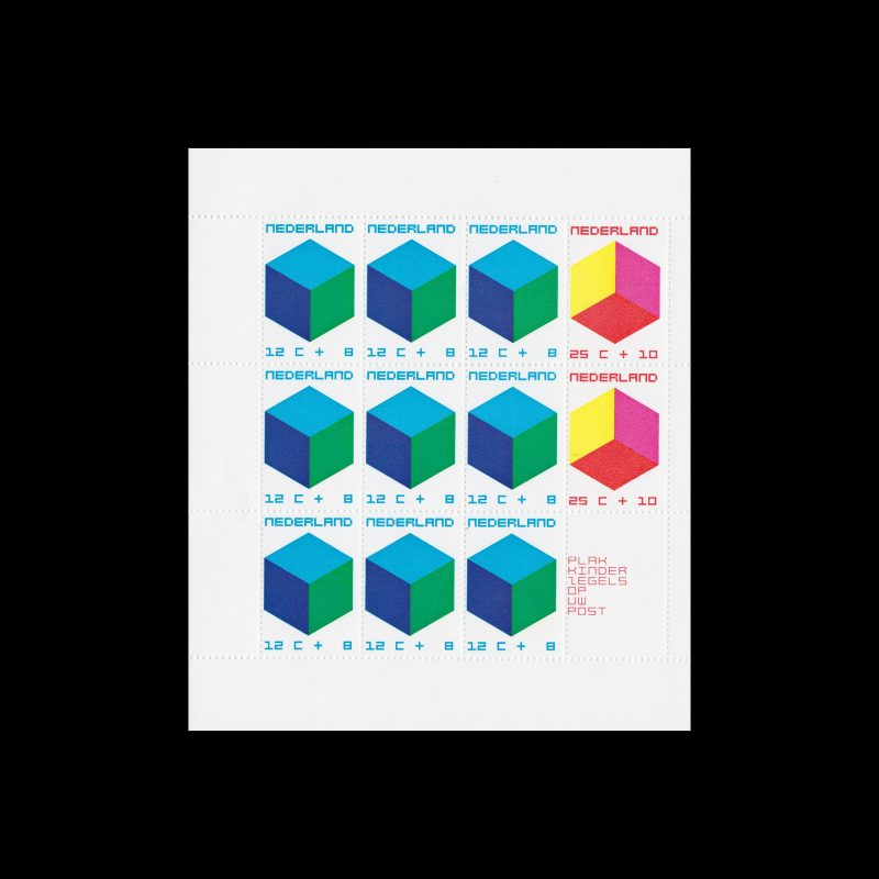 Child Welfare. The Child and the Cube. Netherlands, 1970, Sheet of 12. Designed by William Pars Graatsma
