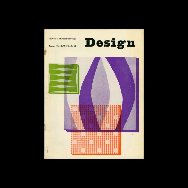 Design, Council of Industrial Design, 92, August 1956. Cover design by Ken Garland