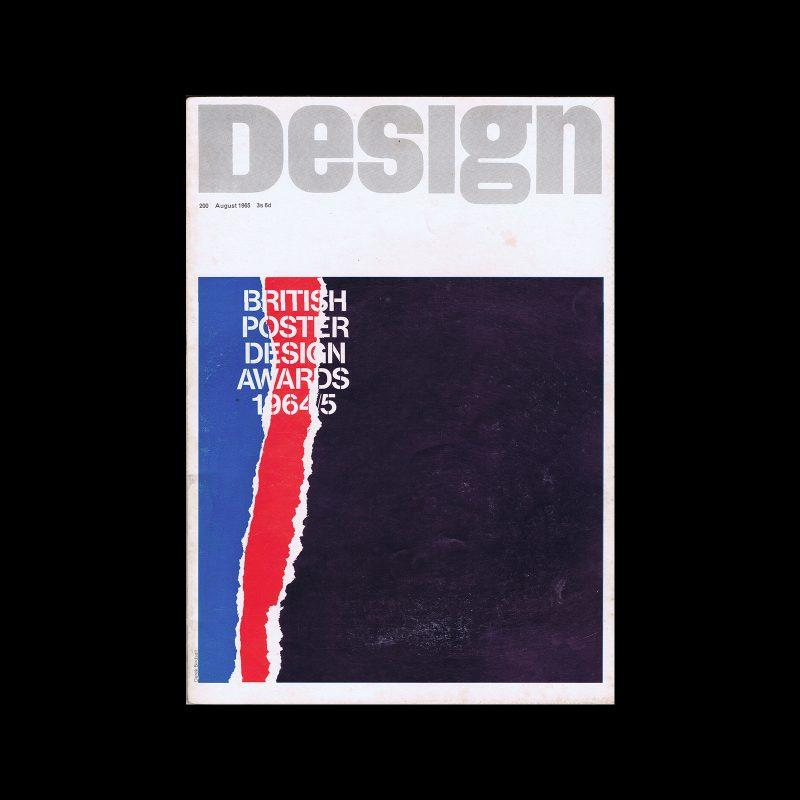 Design, Council of Industrial Design, 200, August 1965. Cover design by Derek Birdsall