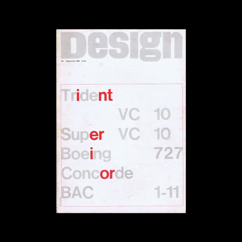 Design, Council of Industrial Design, 201, September 1965. Cover design by Brian Grimbly
