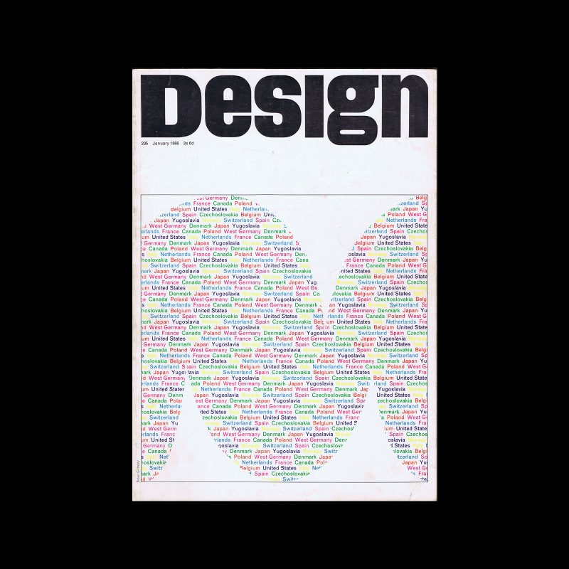 Design, Council of Industrial Design, 205, January 1966. Cover design by Brian Grimbly