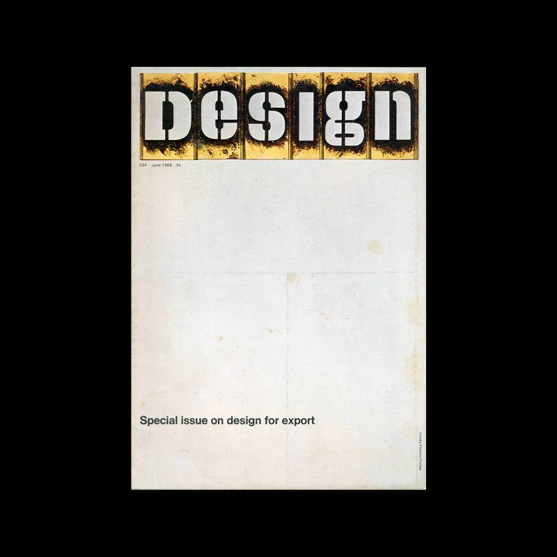 Design, Council of Industrial Design, 234, June 1968. Cover design by Crosby/Fletcher/Forbes