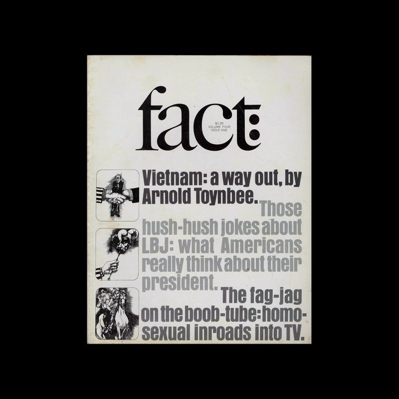Fact, Volume Four, Issue One, 1967. Designed by Herb Lubalin
