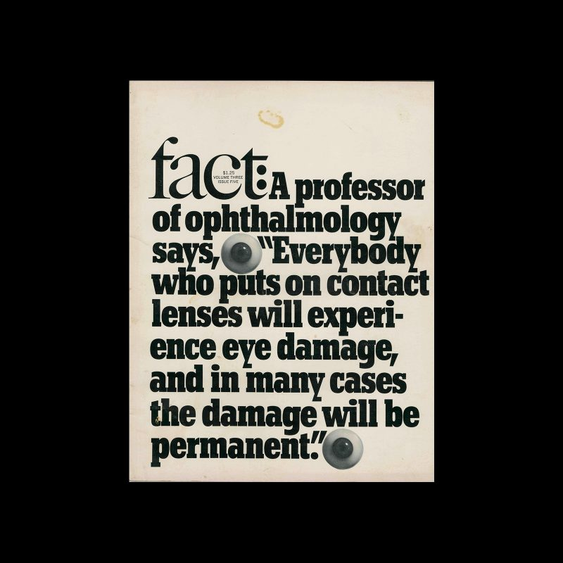 Fact, Volume Three, Issue Five, 1966. Designed by Herb Lubalin
