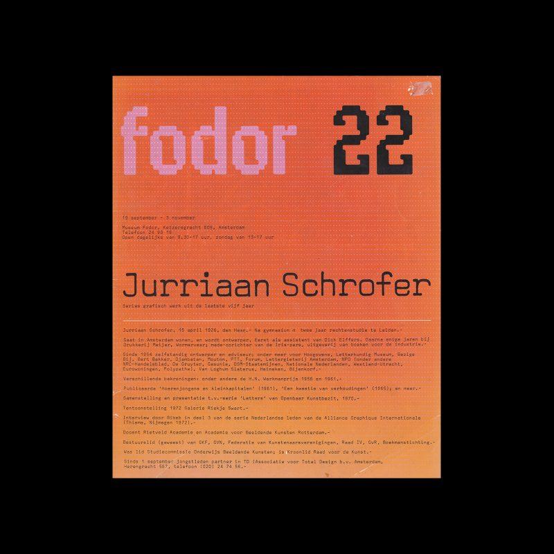 Fodor 22, 1974 - Jurriaan Schrofer. Designed by Wim Crouwel and Daphne Duijvelshoff (Total Design)