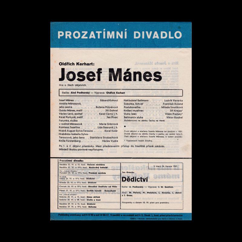 Josef Mánes designed by Ludislav Sutnar