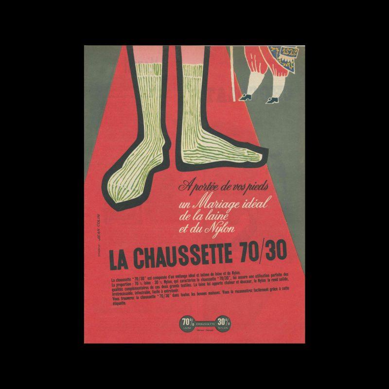 La Chaussettes 70/30, Advertisement, 1957. Designed by Jean Colin.
