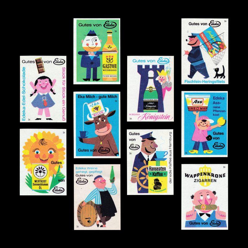 Edeka brand advertising, German, Matchbox label set