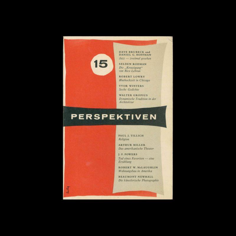 Perspektiven, Literatur, Kunst, Musik, 15, 1956. Cover design by Alvin Lustig