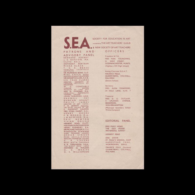 Society for Art Education Brochure, 1940s