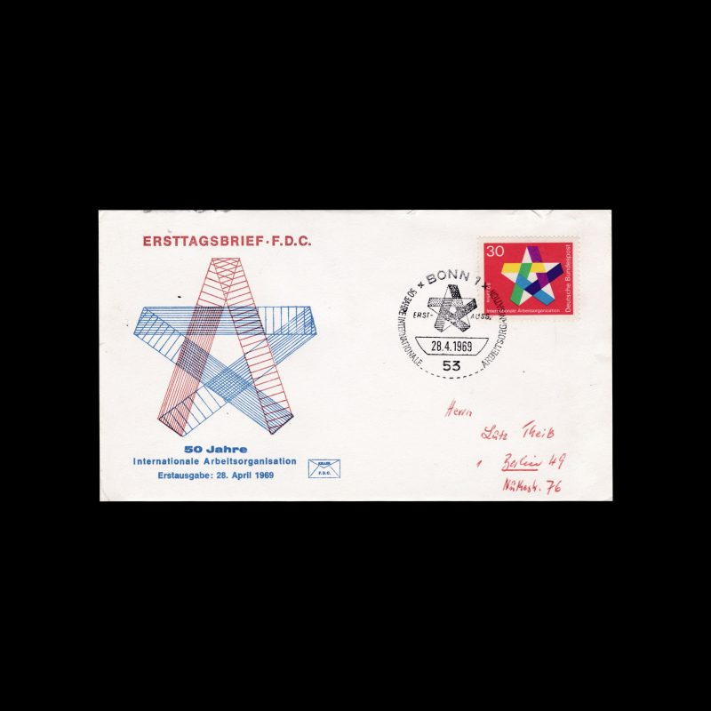 The 50th Anniversary of the (ILO) International Labour Organisation, East Germany FDC, 1969