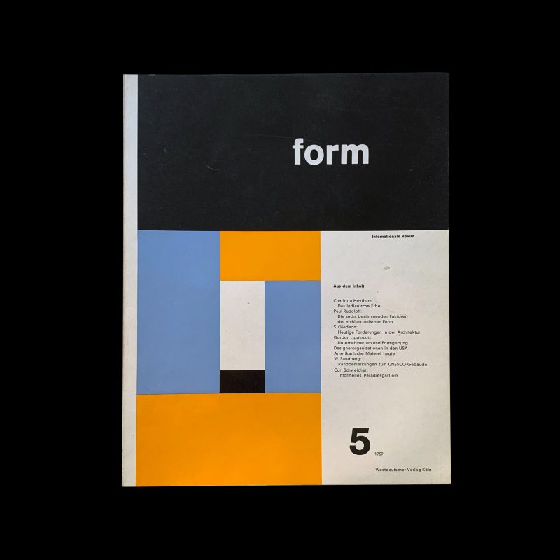 Form, Internationale Revue 5, 1959, Cover: Max Bill, Inners: Müller-Blase