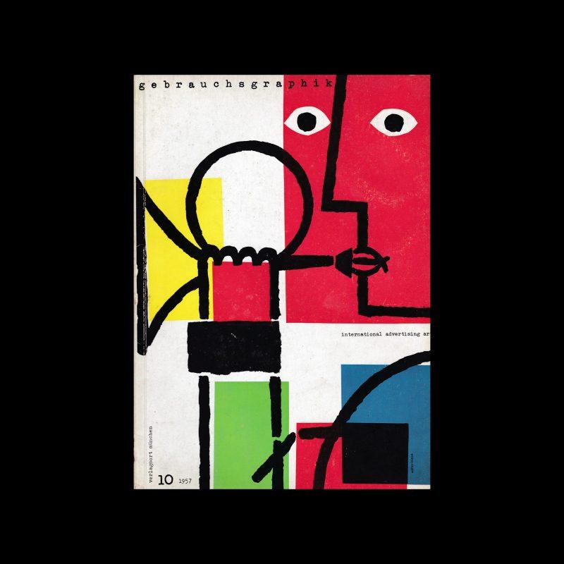 Gebrauchsgraphik, 10, 1957 cover by Felix Müller and Karl Oskar Blase (Muller-Blase)