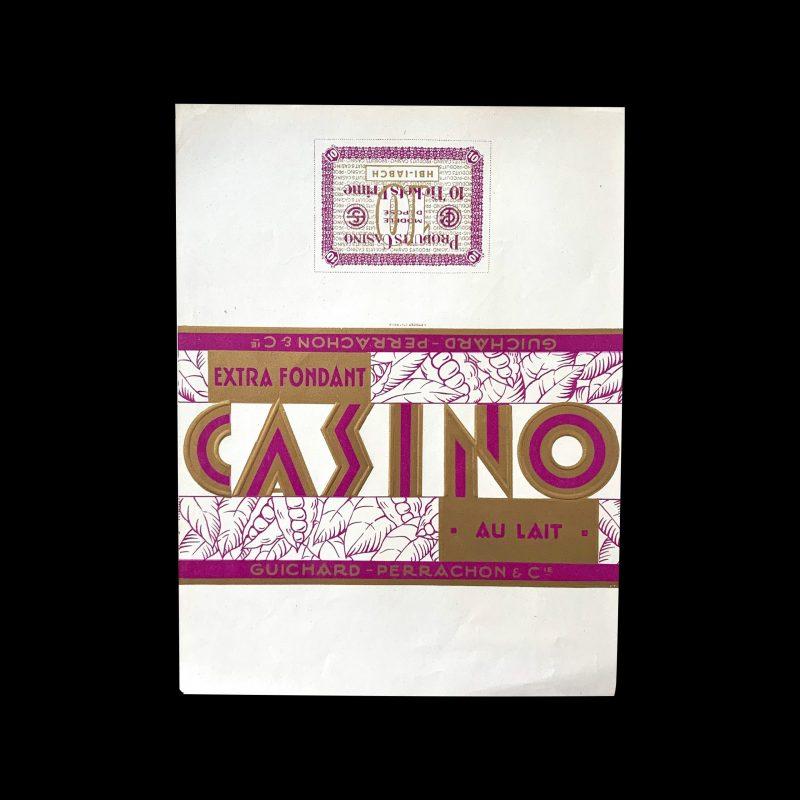 Casino vintage chocolate label